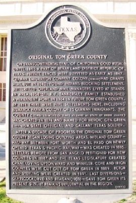 Original Tom Green County Marker image. Click for full size.