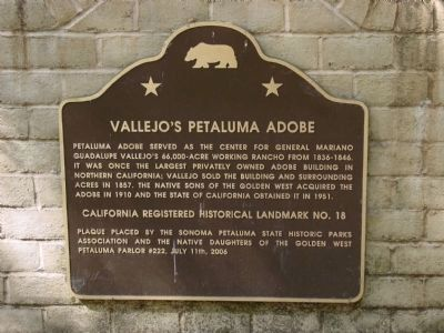 Vallejo's Petaluma Adobe Marker image. Click for full size.