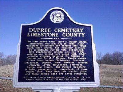 Dupree Cemetery Marker image. Click for full size.
