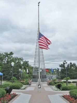 Flagpole and Veterans Memorial image. Click for full size.