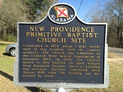 New Providence Primitive Baptist Church Site Marker image. Click for full size.