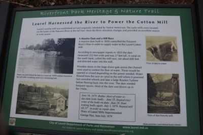 Laurel Harnessed the River to Power the Cotton Mill Marker image. Click for full size.