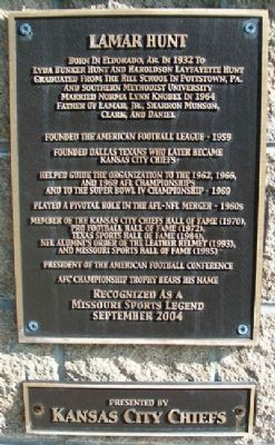 Lamar Hunt Marker image. Click for full size.