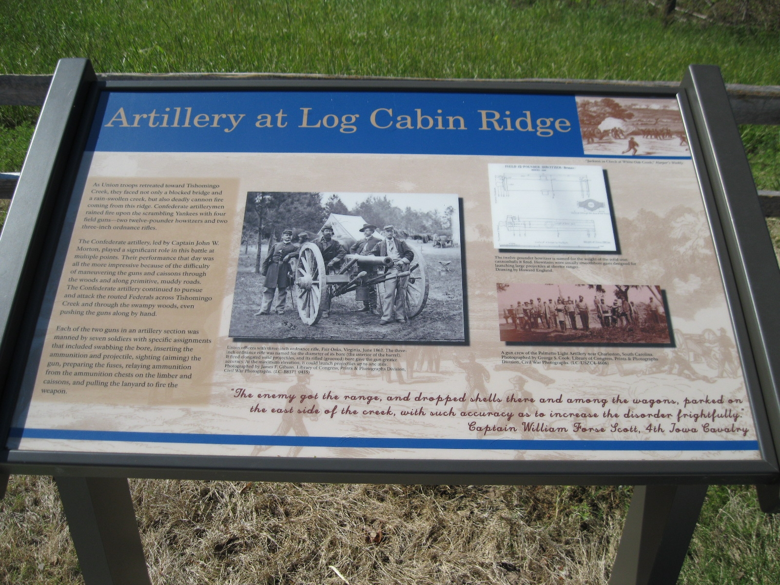 Artillery at Log Cabin Ridge Marker