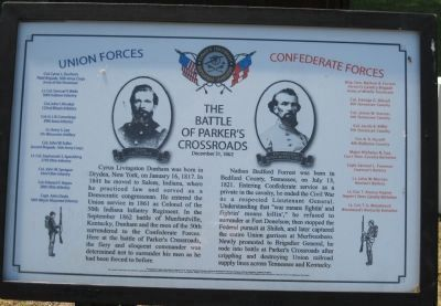 The Battle of Parker's Crossroads Opposing Forces Marker image. Click for full size.