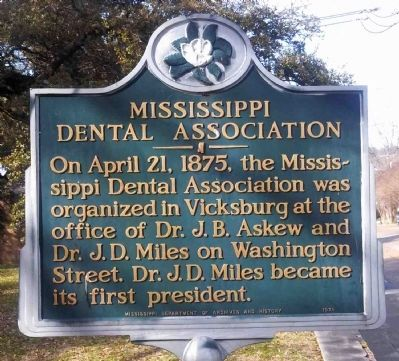 Mississippi Dental Association Marker image. Click for full size.