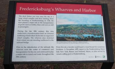 Fredericksburg's Wharves and Harbor Marker image. Click for full size.