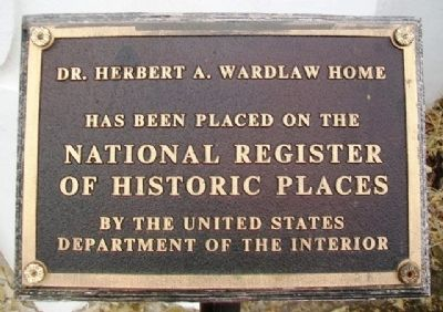 Dr. Herbert A. Wardlaw Home NRHP Marker image. Click for full size.