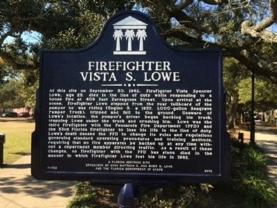 Firefighter Vista S. Lowe Marker image. Click for full size.