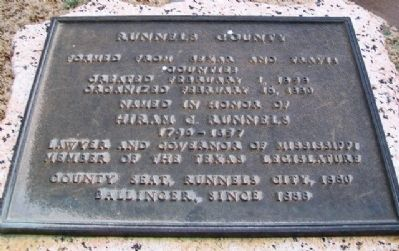 Runnels County Marker image. Click for full size.