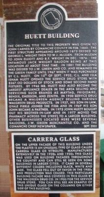 Huett Building and Carrera [sic Carrara] Glass Markers image. Click for full size.