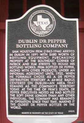 Dublin Dr Pepper Bottling Company Marker image. Click for full size.