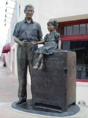 """Sweet Inspiration"" Statue at Dublin Dr Pepper Bottling Company image. Click for full size."