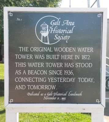 Galt Water Tower Marker image. Click for full size.