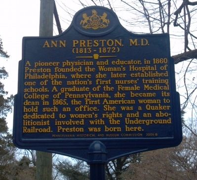 Ann Preston, M.D. Marker image. Click for full size.