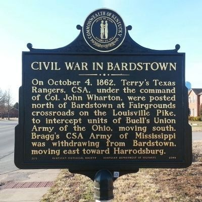 Civil War in Bardstown Marker (obverse) image. Click for full size.