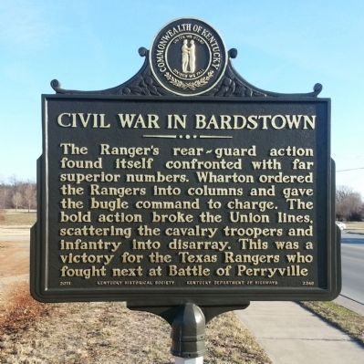 Civil War in Bardstown Marker (reverse) image. Click for full size.