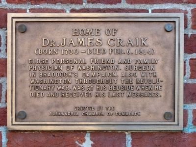 Home of Dr. James Craik Marker image. Click for full size.