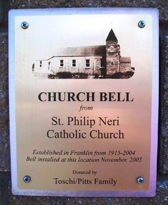 Church Bell from St. Philip Neri Catholic Church Marker image. Click for full size.