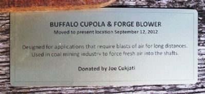 Buffalo Cupola & Forge Blower Marker image. Click for full size.
