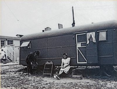 Arlington Virginia,<br> FSA Trailer Camp Project for Negroes,<br>Single Type Trailer; April 1942 image. Click for full size.