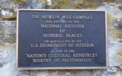 The Newlin Grist Mill Complex Marker image. Click for full size.