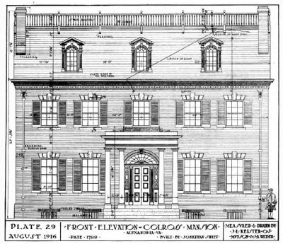 Colross -- Front Elevation, 1916 image. Click for full size.
