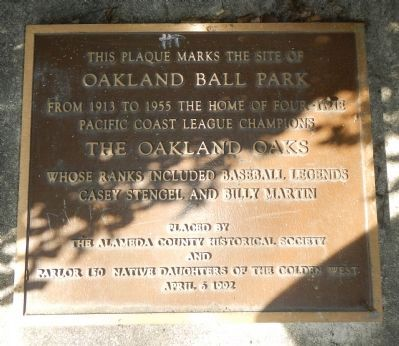 Oakland Ball Park Marker image. Click for full size.