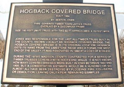 Hogback Covered Bridge Marker image. Click for full size.