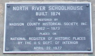 North River Schoolhouse Marker image. Click for full size.