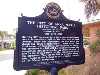 The City of Anna Maria Historical Park Marker (<i>side 2</i>) image. Click for full size.
