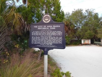 The City of Anna Maria Historical Park Marker (<i>side 1</i>) image. Click for full size.