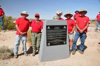 Coxcomb Divisional Camp Marker with Plaque Re-Erection Crew image. Click for full size.