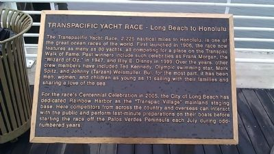 Transpacific Yacht Race - Long Beach to Honolulu Marker image. Click for full size.