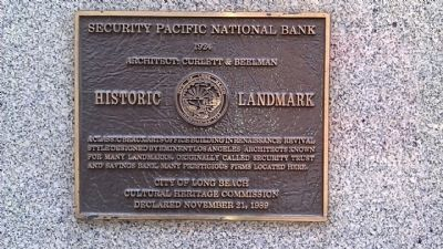 Security Pacific National Bank Marker image. Click for full size.