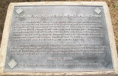 45th Infantry Division Memorial Highway Marker image. Click for full size.