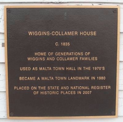 Wiggins – Collamer House Plaque image. Click for full size.