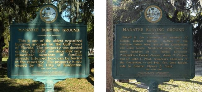 Manatee Burying Ground Marker image. Click for full size.