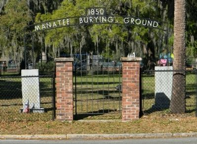 The Manatee Burying Ground entrance gate image. Click for full size.
