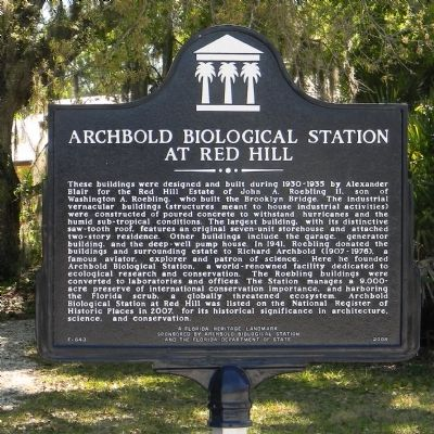 Archbold Biological Station at Red Hill Marker image. Click for full size.