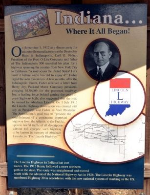 Indiana ... Where It All Began! Marker image. Click for full size.