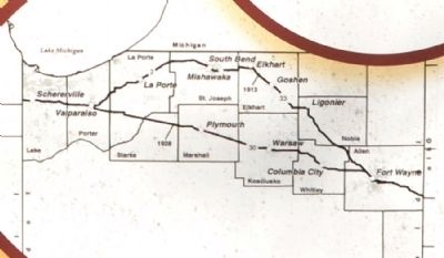 Route of Lincoln Highway in Indiana image. Click for full size.