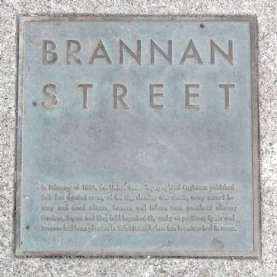 Brannan Street Marker, top left plaque image. Click for full size.
