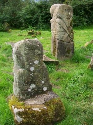 Caldragh Graveyard Celtic Stone Figures image. Click for full size.