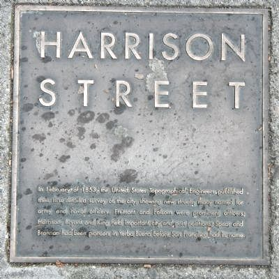 Harrison Street Marker, top left plaque image. Click for full size.