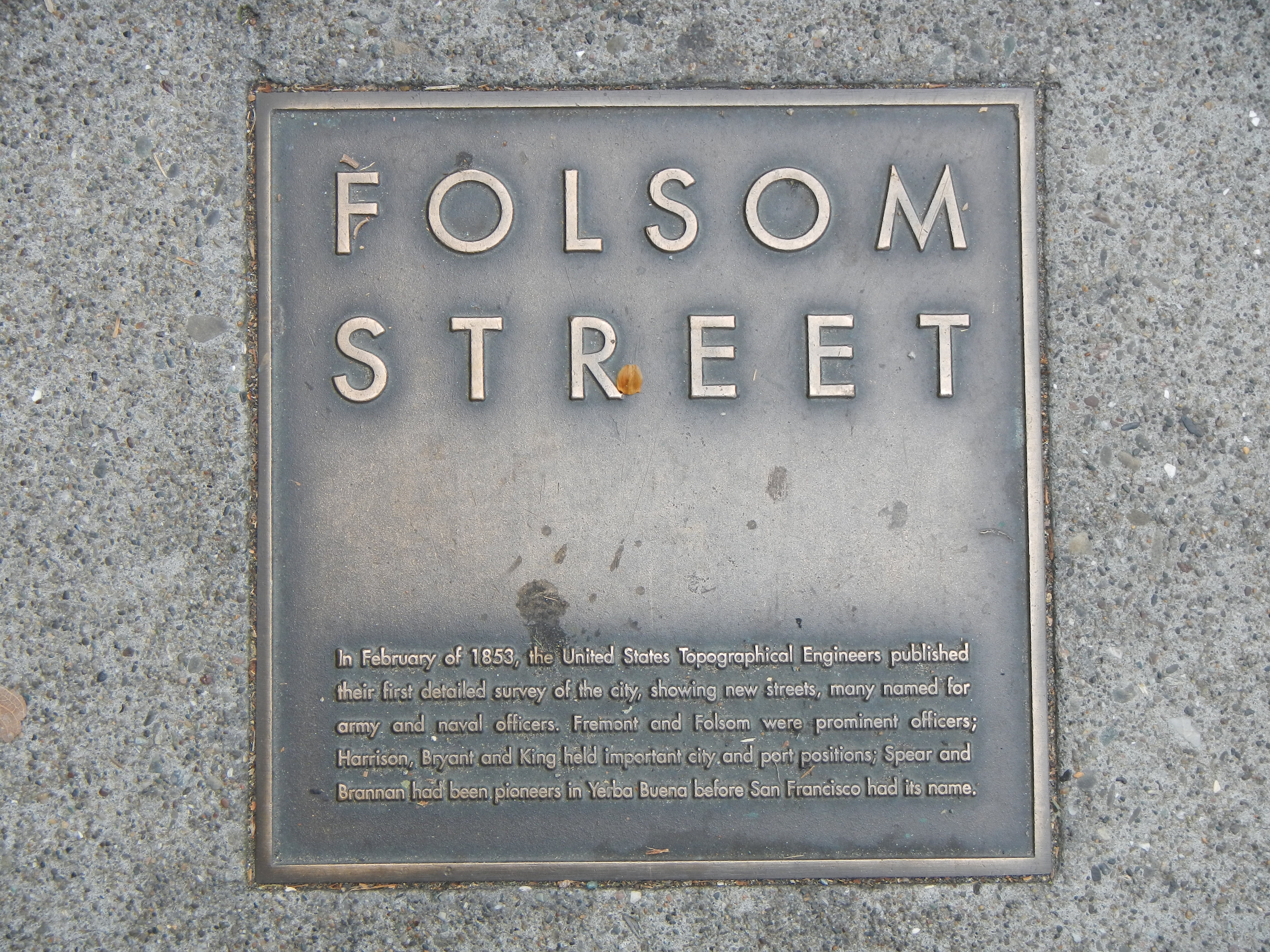 Folsom Street Marker, top left plaque