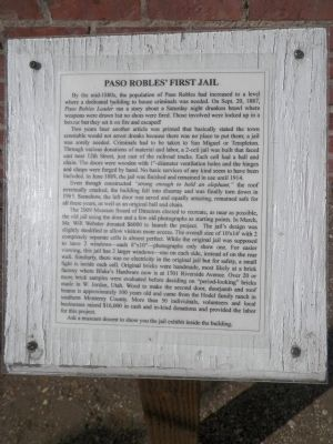 Paso Robles' First Jail Marker image. Click for full size.