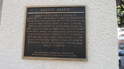 Legge Alley Marker image. Click for full size.