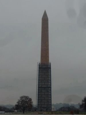 Washington Monument with its earthquake repairs mostly completed and its scaffolding mostly removed image. Click for full size.
