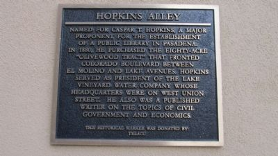 Hopkins Alley Marker image. Click for full size.